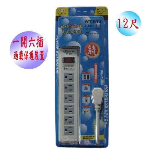 【威電 ● 京凱】1燈6插3孔電腦延長線 WT-613-12尺 ~台灣製造MIT