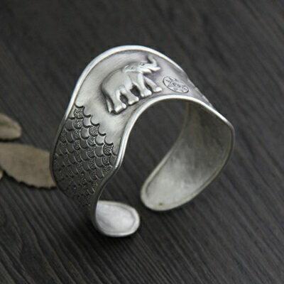 ~純銀手環 復古泰銀手鍊~ 浮雕大象生日情人節 女飾品73gg121~ ~~米蘭 ~