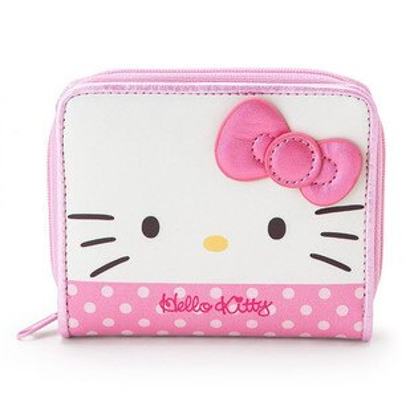 【真愛日本】17072200044短皮夾-KT大臉桃結AAY三麗鷗kitty凱蒂貓短夾皮夾錢包生活用品