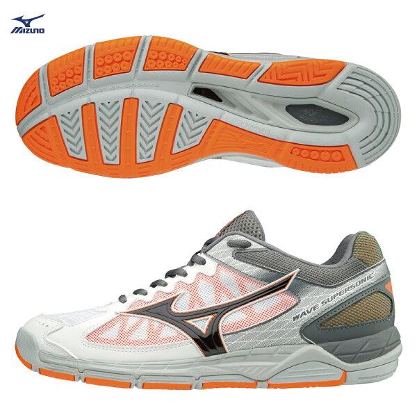 V1GA184054(灰白X黑灰)WAVESUPERSONIC排球鞋【美津濃MIZUNO】