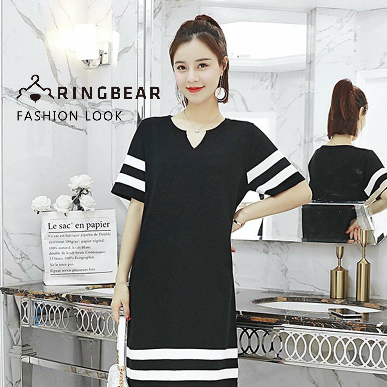 黑色洋裝--性感氣質平V領線條短袖薄針織連身裙(黑XL-4L)-D469眼圈熊中大尺碼 0