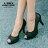 格子舖*【AA385】MIT台灣製 金蔥拼接皮革 舒適好走防水台9.5CM魚口高跟鞋 黑色 0