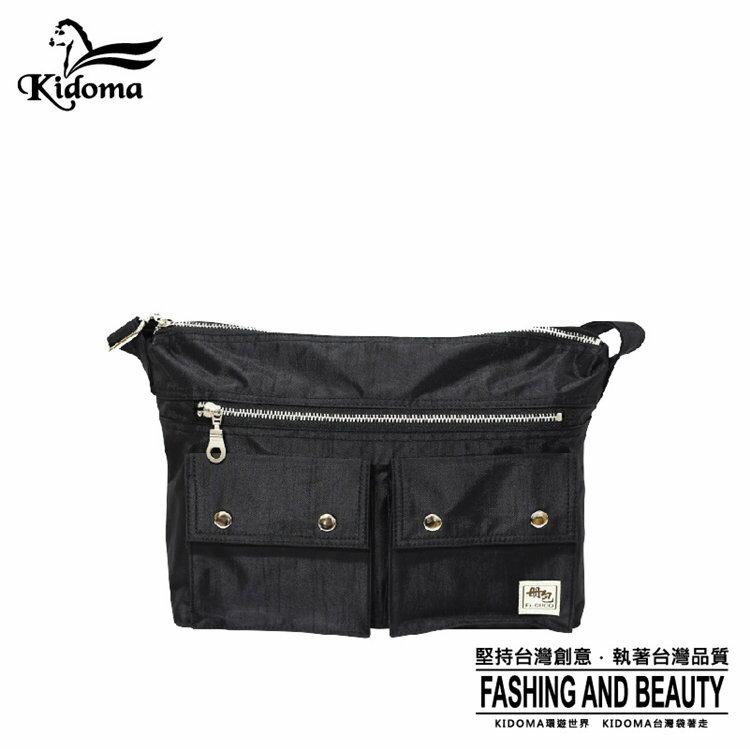 Kidoma型男雙口袋斜肩包-黑 Porter風 尼龍包 側背包 郵差包 FRB533