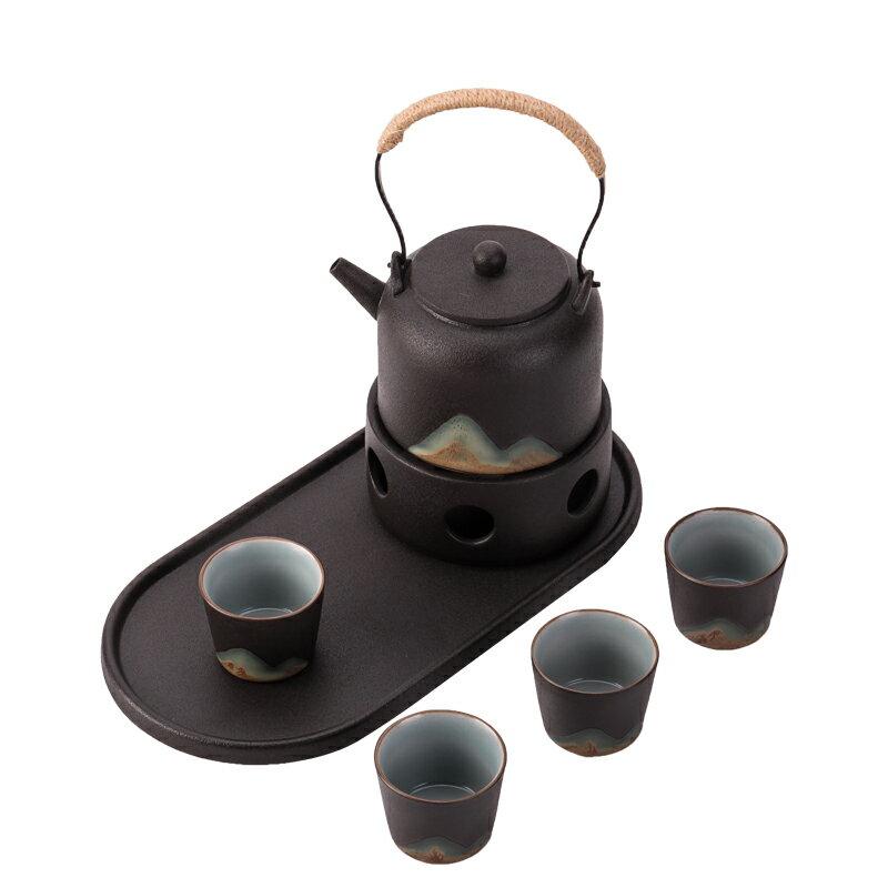粗陶溫茶爐黑陶煮茶器日式提梁壺防燙蠟燭茶壺茶杯陶瓷功夫茶具
