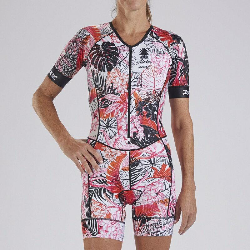 【7號公園自行車】ZOOT 19S ALII TRI AERO 女性前開襟有袖連身三鐵衣(白/藍紅花)