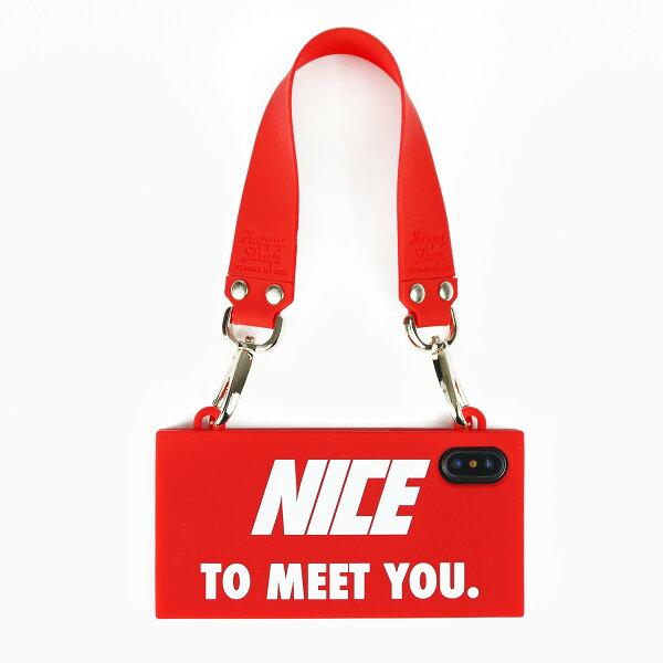 【Candies】Simple系列NiceToMeetYou手提包(紅)-IPhoneX