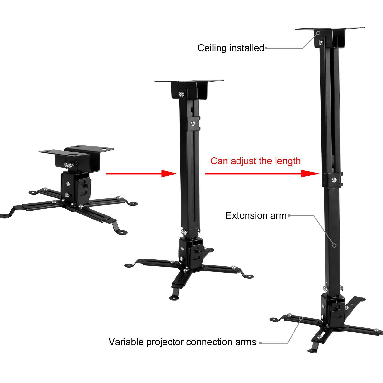 Universal Projector Ceiling Wall Mount Rack Bracket LCD DLP Tilt 44lbs Extendable Black 0