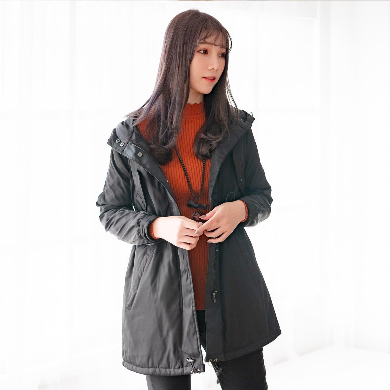 防風外套--時尚保暖立領連帽開衩口袋收腰拉鍊風衣外套(黑.紅.綠S-3L)-J266眼圈熊中大尺碼 2