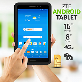 "ZTE TREK 2 HD K88 AT&T Unlocked Tablet GSM Wi-Fi - CELLULAR 16GB 8"" Tablet 0"