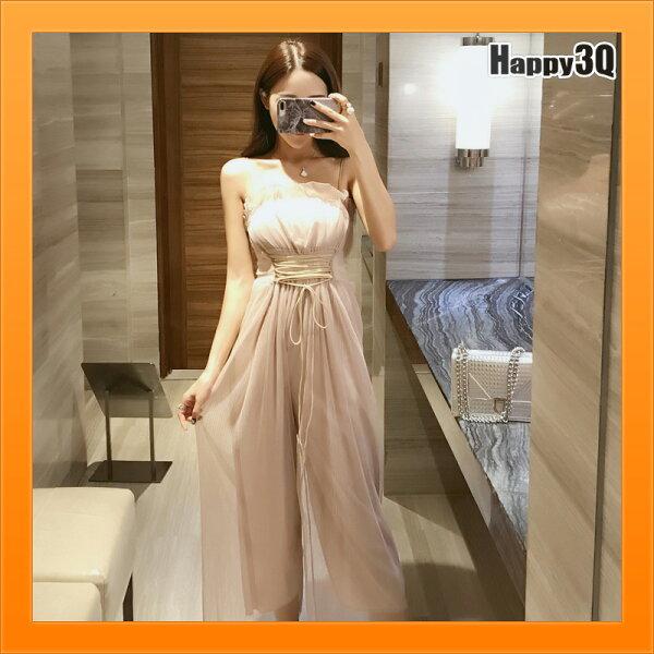 綁帶顯腰身褲裙露肩膀露鎖骨性感洋裝一件式OnePiece-杏黑S-XL【AAA4513】