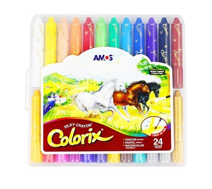 『現貨』(國際英文版) 【韓國AMOS】旋轉式蠟筆 筆筒含筆套 水溶性 多用途 粉彩 水彩 阿摩司 『24色一組』
