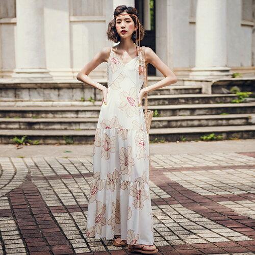 PS Mall 波希米雅海島風印花V領吊帶連身裙 長裙 洋裝【T624】 - 限時優惠好康折扣