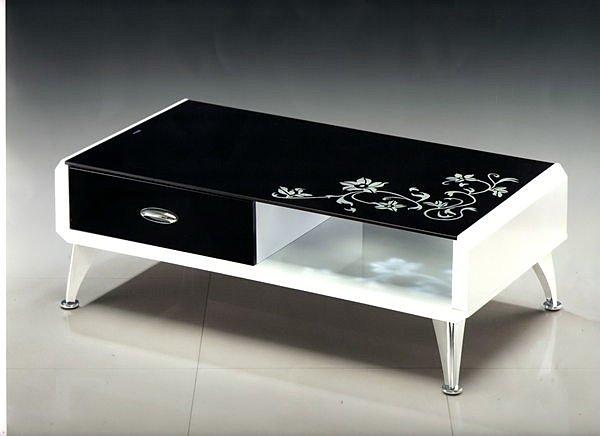 【尚品傢俱】602-13 歐克造型黑玻璃大茶几《台中市部分地區免運費》