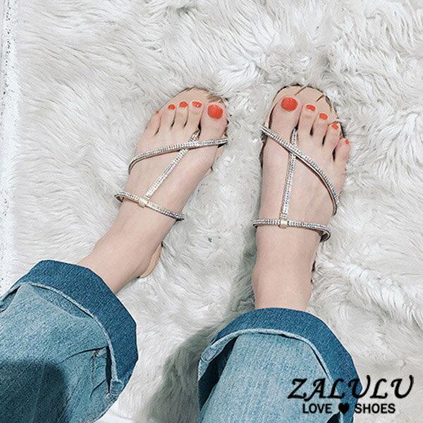 ZALULU愛鞋館7EE181預購韓版星閃鑽夾腳平底拖鞋-黑裸-35-39