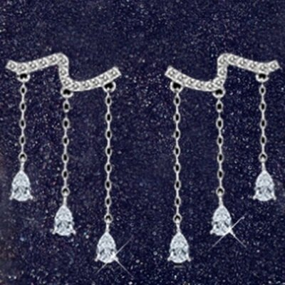 925純銀耳環鑲鑽耳飾~百搭流蘇 生日情人節 女飾品2色73dy71~ ~~米蘭 ~