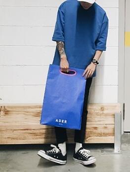 FINDSENSE MD 韓國 潮 男 時尚 休閒 立領 寬鬆 五分袖 簡約純色素面 情侶款 短袖T恤 特色短T 素面T