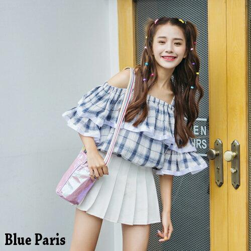 上衣 - 露肩吊帶五分荷葉袖條紋層次上衣【29135】藍色巴黎-現貨+預購 0