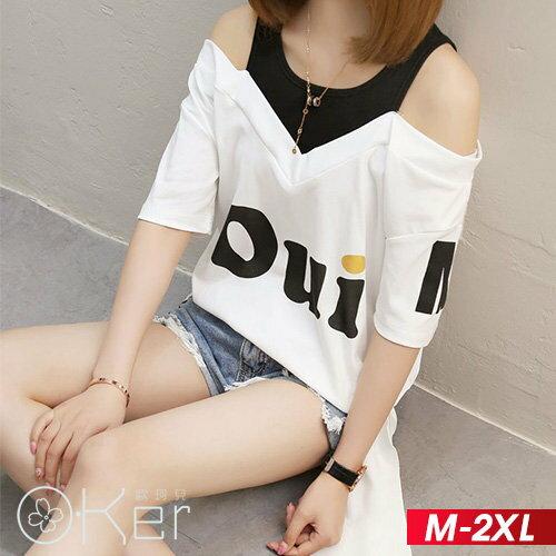 潮款英文字母假兩件短袖T恤M-2XLO-ker歐珂兒160098