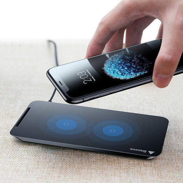 庫奇小舖:Baseus倍思橫豎雙線圈無線充電器iPhoneXiPhone8無線充電支架【庫奇小舖】
