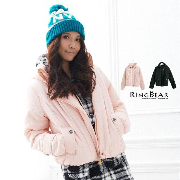 外套--展現潮流魅力帽子可拆造型領鋪棉外套(黑.粉M-XL)-J151眼圈熊中大尺碼 - 限時優惠好康折扣