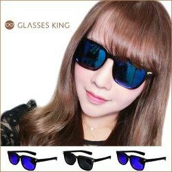 『斷貨』眼鏡王☆閃電星星流星金屬裝飾街頭龐克潮流韓國復古方框小框太陽眼鏡墨鏡黑色反光S166
