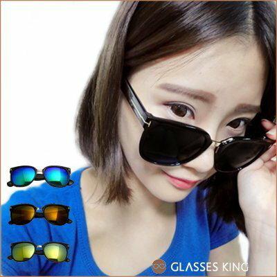 眼鏡王☆T字金屬膠框韓國復古海邊黑色方框大框潮流型男正妹超黑太陽眼鏡反光墨鏡S168