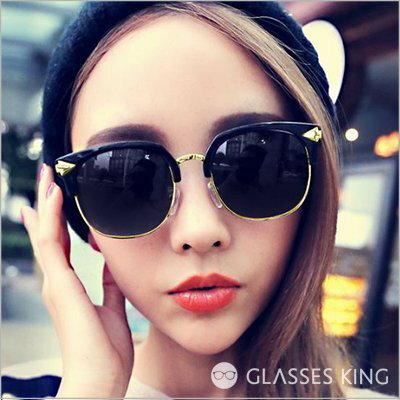 眼鏡王☆箭頭金屬造型奢華麗裝飾貓眼圓框半框韓墨鏡太陽眼鏡UV400夏日沙灘海邊正妹型男金黑鼻墊S178