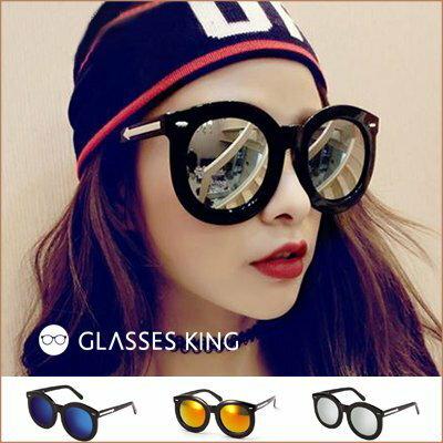 眼鏡王~蕭亞軒同款鉚釘箭頭超大框圓框韓國復古顯瘦小臉粗框墨鏡太陽眼鏡UV400海邊正妹反光