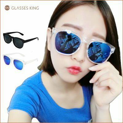 眼鏡王☆W金屬造型經典復古顯瘦小臉粗框韓國墨鏡太陽眼鏡夏日海邊正妹透明反光藍白黑色S195