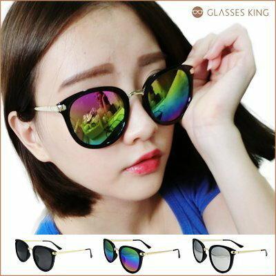 眼鏡王☆金屬反光炫彩虹正妹顯瘦金色俏皮圓框金屬墨鏡太陽眼鏡韓國藍白黑色S192