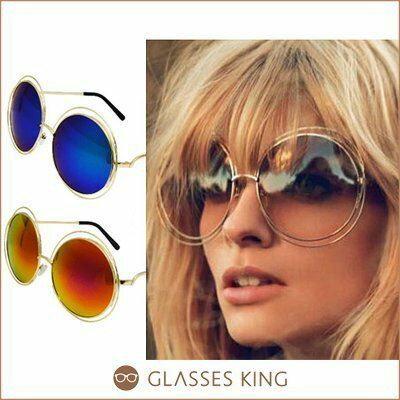 眼鏡王☆ 款反光超大框圓框復古誇張鏤空雙圈太陽眼鏡墨鏡黑色藍綠色金色黃S160