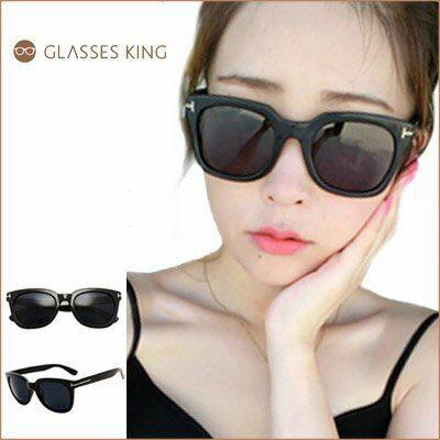 眼鏡王☆T字金屬裝飾膠框復古海邊橢圓大框流行時尚型男正妹太陽眼鏡墨鏡黑色S220
