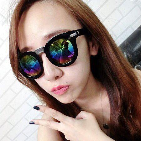 眼鏡王☆來自星星的你V小翅膀歐美圓框金屬鼻樑街拍粗框反光鏡片大框太陽眼鏡墨鏡S145