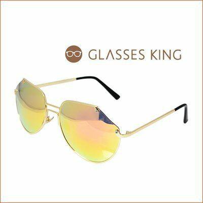眼鏡王~潮流缺角 金屬帥氣大框反光鏡片太陽眼鏡墨鏡明星夏日海邊水銀炫彩粉橘黃黑墨綠色S19