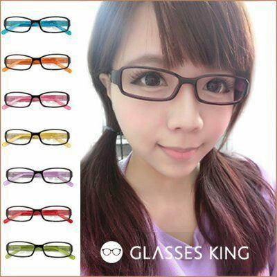 眼鏡王☆馬卡龍果凍色窄框小框方框膠框黑框眼鏡桃紅粉紅藍綠黃灰橘紫色台灣製彈簧A-21
