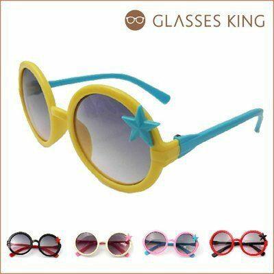眼鏡王☆現貨!小孩兒童圓框星星可愛韓國大框墨鏡太陽眼鏡黑色紅粉紅白黃藍色K17