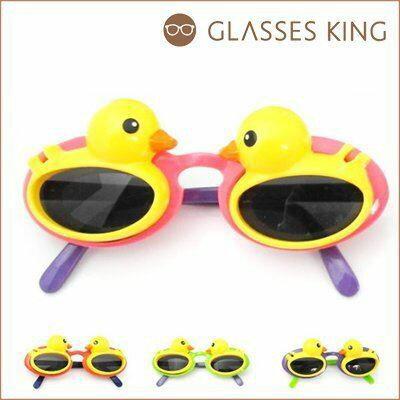 眼鏡王☆現貨!台灣製小孩兒童造型框韓國人氣黃色小鴨掀蓋粉紅色綠色紫墨鏡太陽眼鏡K12
