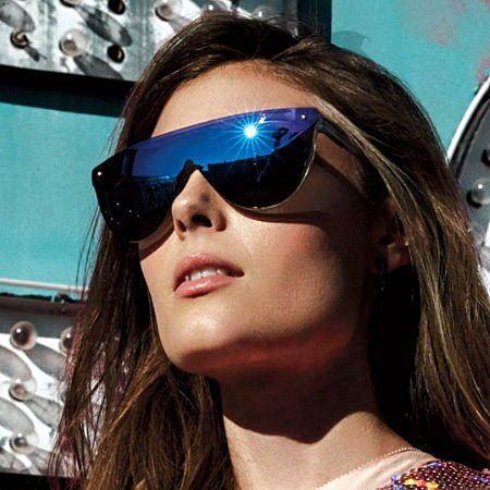 眼鏡王☆現貨!膠框雷朋帥氣復古超大框方框羅志祥墨鏡一片式太陽眼鏡黑色藍反光水銀S161