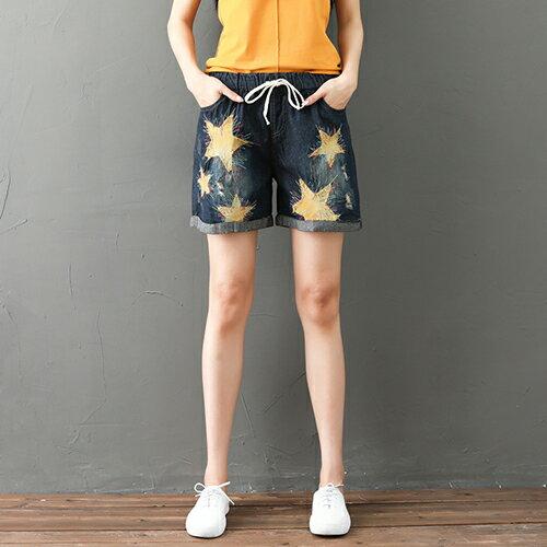 *ORead*民族風五角星貼佈刺繡牛仔短褲(藍色L~XL)