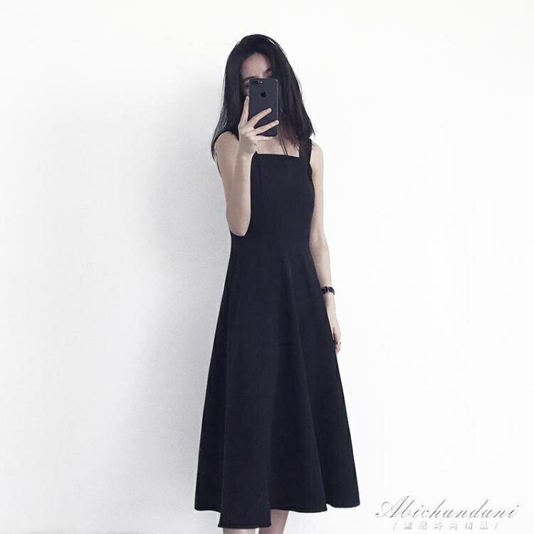 2020流行夏天無袖赫本小黑裙高腰修身顯瘦復古吊帶中長款洋裝子 夏洛特居家名品