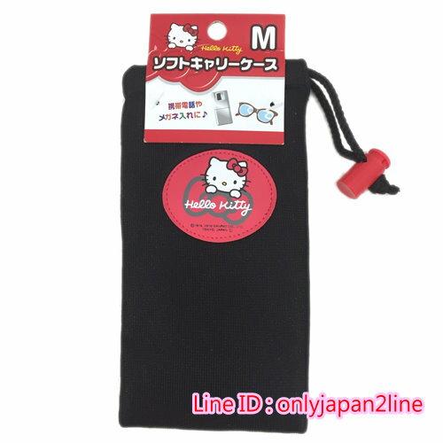 【真愛日本】16100700029萬用防護袋-KT紅結黑M   三麗鷗 Hello Kitty 凱蒂貓  收納袋  防護袋  日本帶回