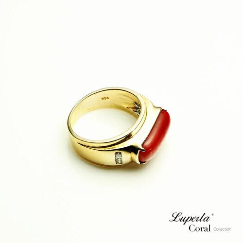 大東山珠寶 典藏 頂級深紅阿卡珊瑚真鑽14K金戒指 2