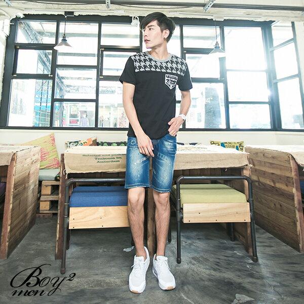 ☆BOY-2☆【JBA153】短袖T恤韓潮流修身型男滾邊拼接圖騰INVASIONT短T 2