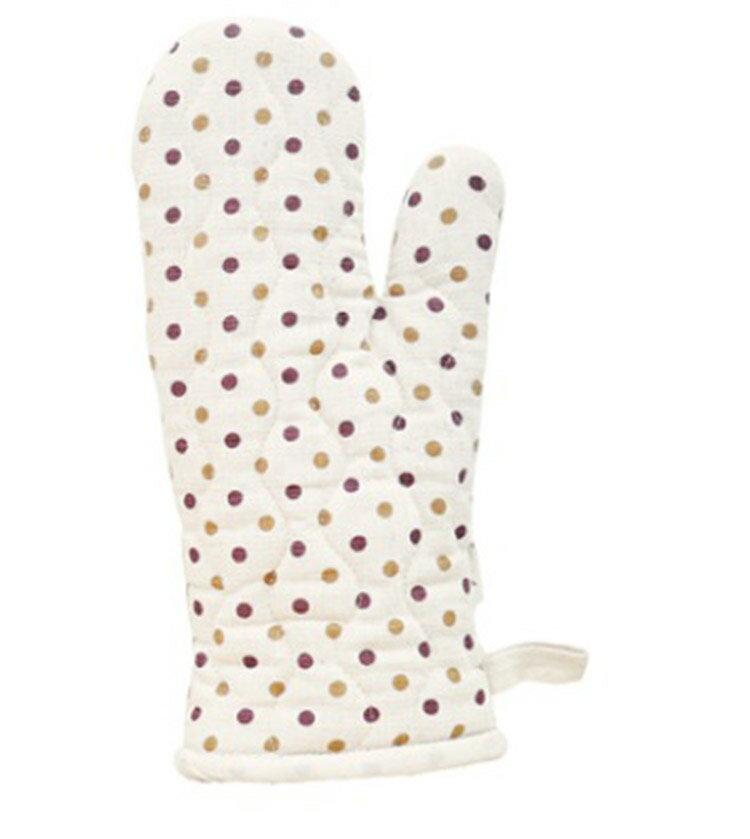 【布學無數】雙色水玉紋隔熱手套(咖啡)  居家/廚房用品 - 限時優惠好康折扣
