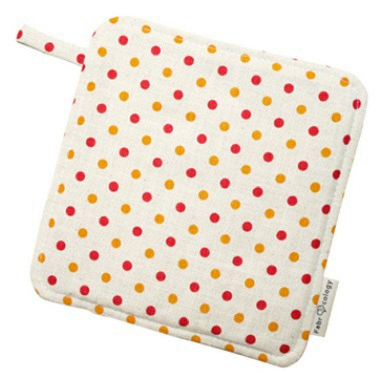 【布學無數】雙色水玉紋隔熱墊(橘紅) 居家/廚房用品 - 限時優惠好康折扣