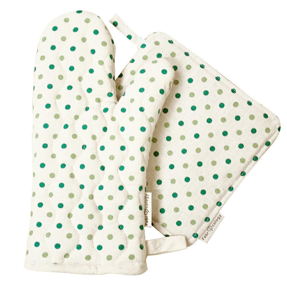 【布學無數】雙色水玉紋隔熱墊+手套 (組合價) 居家/廚房用品 2
