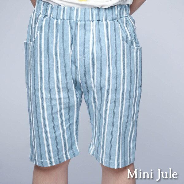 《MiniJule童裝》短褲粗細條紋口袋鬆緊短褲(藍)