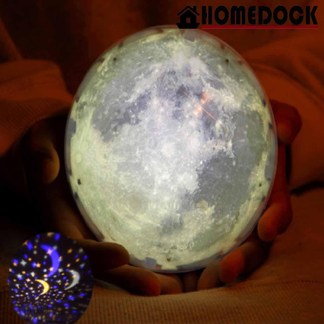 HOMEDOCK-LED旋轉星空投影小夜燈 /床頭燈/投影燈/星空/宇宙/月球/投射燈