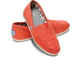 【TOMS】橘色亞麻平底休閒鞋  Earthwise Orange Women\