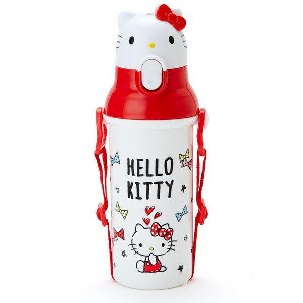 【真愛日本】 15121200012 直飲水壺-KT彈蓋頭形彩結白 三麗鷗 Hello Kitty 凱蒂貓 水瓶 水壺